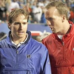 New Orleans Saints quarterback Brees of NFC and Indianapolis Colts quarterback Manning of the AFC speak in Miami
